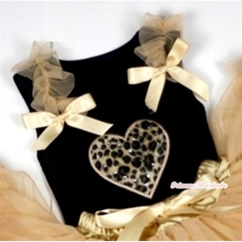 Leopard Heart Print Black Tank Top with Goldenrod Ruffles &Goldenrod Bows TB228