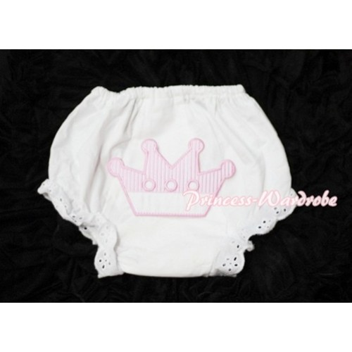 Sweet Crown Print White Panties Bloomers LD39