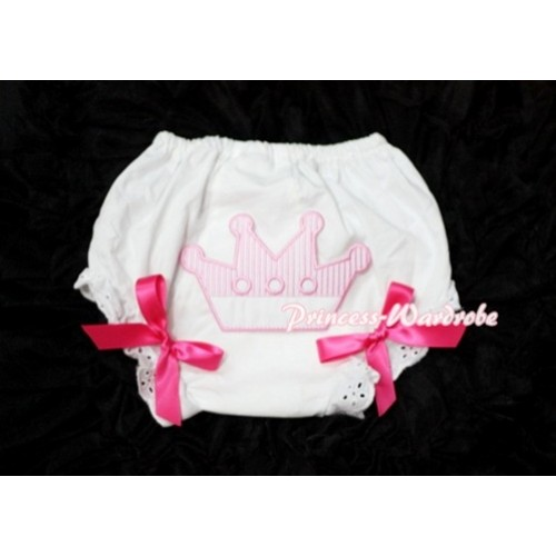 Sweet Crown Print White Panties Bloomers with Hot Pink Bows LD24