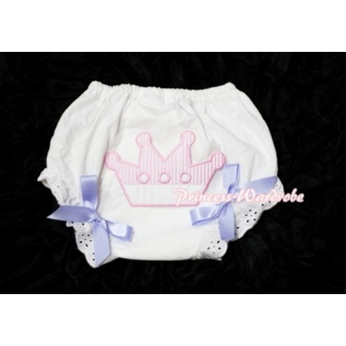 Sweet Crown Print White Panties Bloomers with Lavender Bows LD25
