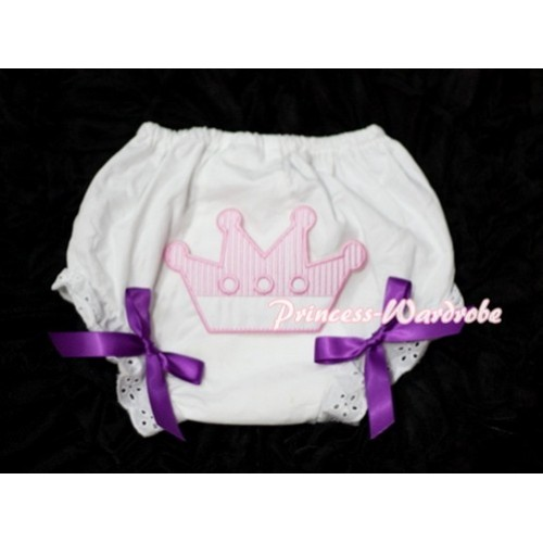 Sweet Crown Print White Panties Bloomers with Dark Purple Bows LD26