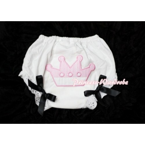 Sweet Crown Print White Panties Bloomers with Black Bows LD28