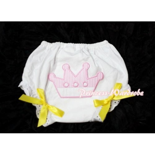 Sweet Crown Print White Panties Bloomers with Yellow Bows LD29
