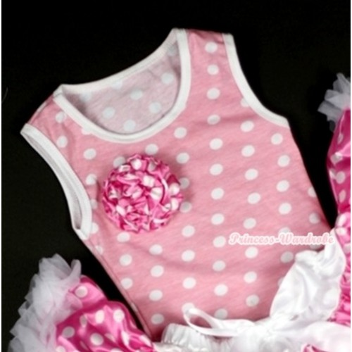 Light Pink White Dots Tank Tops with One Dark Hot Pink White Dots Rose TP111