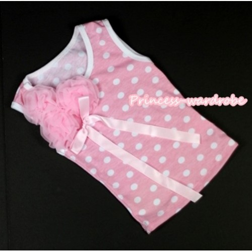 Light Pink White Dots Tank Top with Bunch of Light Pink Rosettes and Light Pink Bow TP113