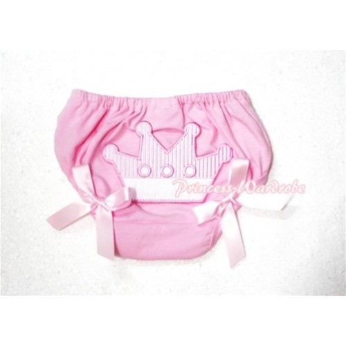 Sweet Crown Print Light Pink Panties Bloomers Light Pink Bows LD41