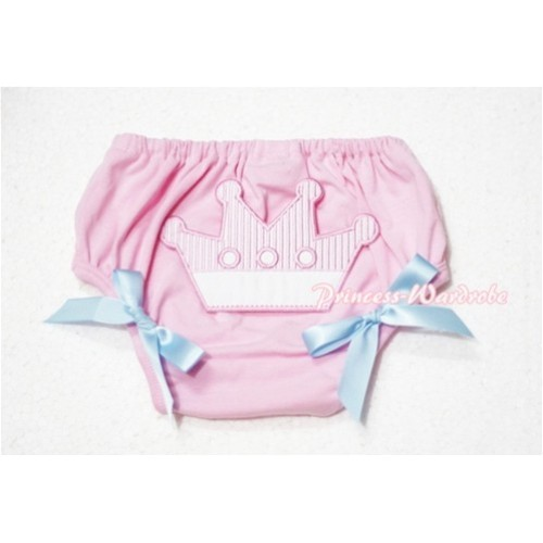 Sweet Crown Print Light Pink Panties Bloomers Light Blue Bows LD49