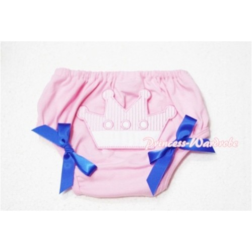 Sweet Crown Print Light Pink Panties Bloomers Royal Blue Bows LD50