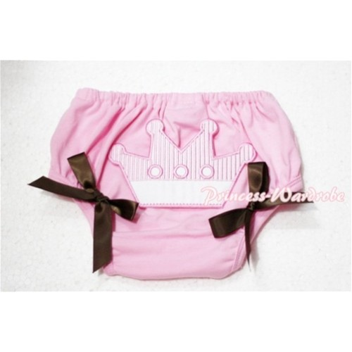Sweet Crown Print Light Pink Panties Bloomers Brown Bows LD53