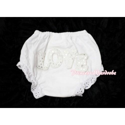 Sweet Spakle LOVE Print White Panties Bloomers LD72