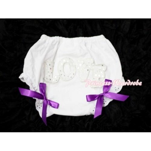 Sweet Spakle LOVE Print White Panties Bloomers with Dark Purple Bows LD60