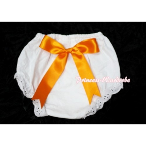 White Bloomers & Orange Big Bow BC106