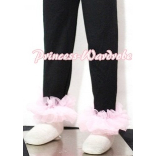 Black Cotton Leggings Trousers with Light Pink Ruffles TU02