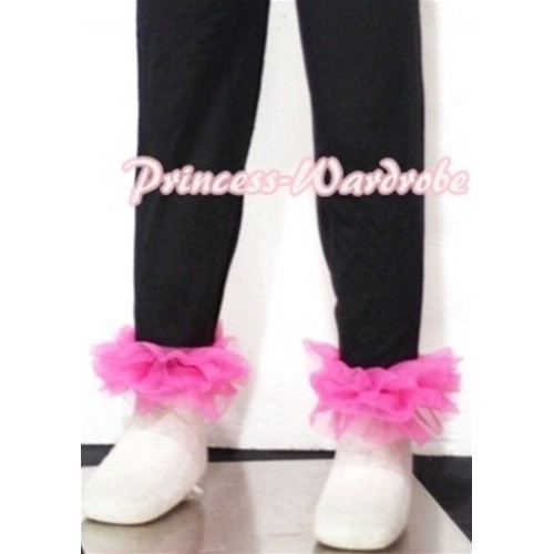Black Cotton Leggings Trousers with Hot Pink Ruffles TU03