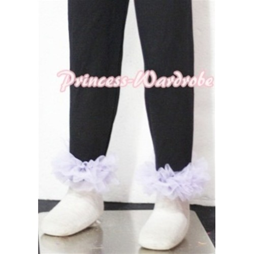 Black Cotton Leggings Trousers with Lavender Ruffles TU04