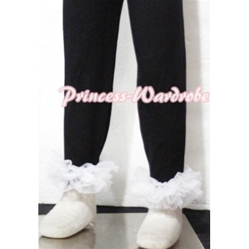 Black Cotton Leggings Trousers with White Ruffles TU06
