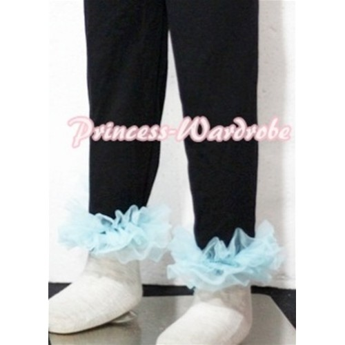 Black Cotton Leggings Trousers with Light Blue Ruffles TU10