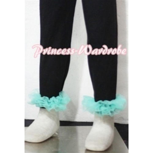 Black Cotton Leggings Trousers with Aqua Blue Ruffles TU12