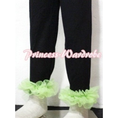 Black Cotton Leggings Trousers with Lime Green Ruffles TU13