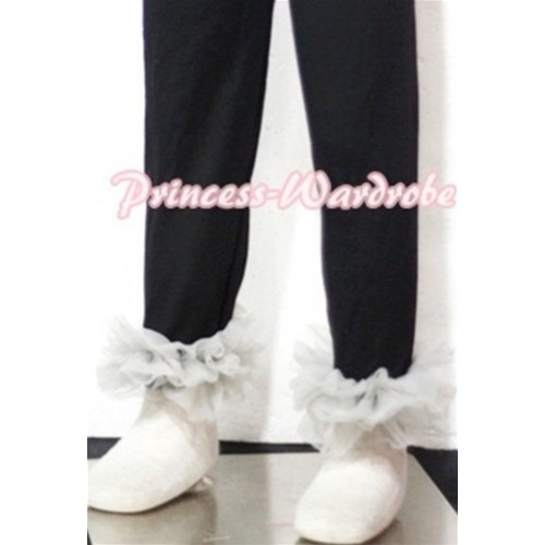 Black Cotton Leggings Trousers with Grey Ruffles TU15
