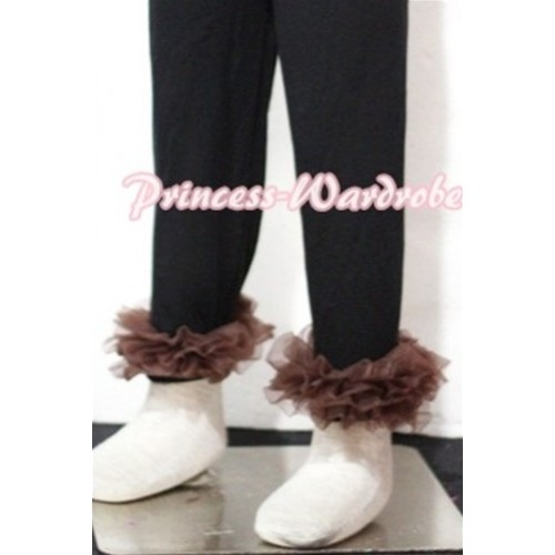 Black Cotton Leggings Trousers with Brown Ruffles TU16
