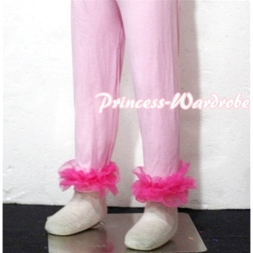 Pink Cotton Leggings Trousers with Hot Pink Ruffles TU19