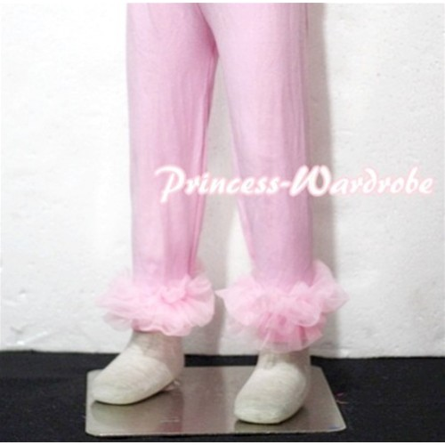 Pink Cotton Leggings Trousers with Light Pink Ruffles TU21