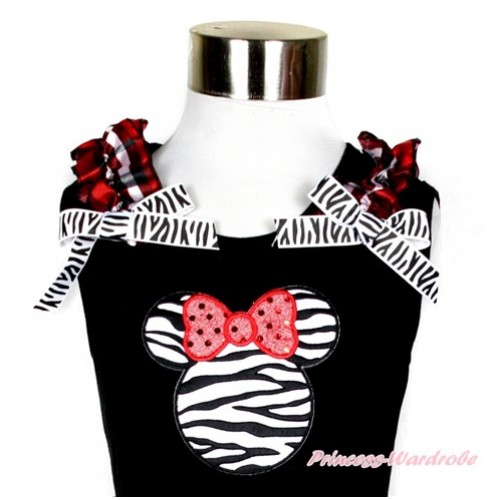 Black Tank Top With Red Black Checked Ruffles & Zebra Bow With Zebra Minnie Print TB578
