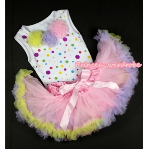 Pink Pettitop Top with various Chiffon flower 1-8Years