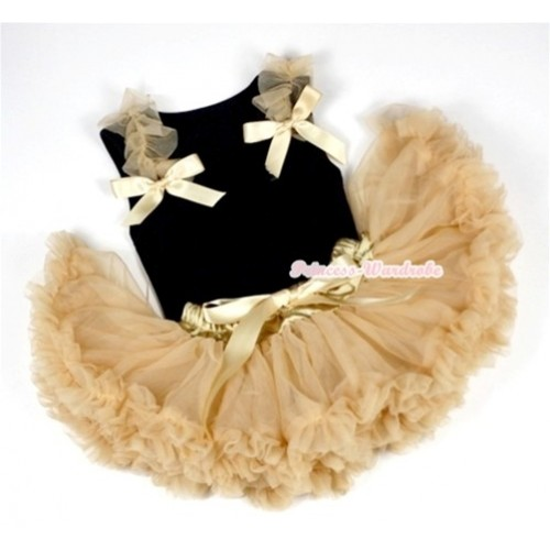 Black Baby Pettitop & Goldenrod Ruffles & Goldenrod Bows with Goldenrod Baby Pettiskirt NG524