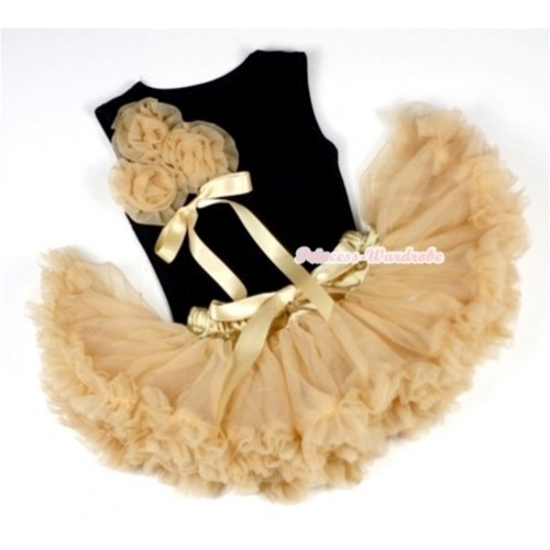 Black Baby Pettitop & Bunch of Goldenrod Rosettes & Ribbon with Goldenrod Baby Pettiskirt NG422