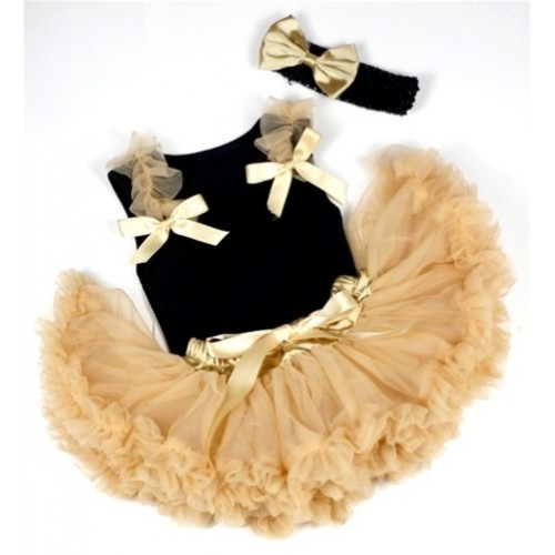 Black Baby Pettitop & Goldenrod Ruffles & Goldenrod Bow with Goldenrod Newborn Pettiskirt With Black Headband Goldenrod Satin Bow NG425
