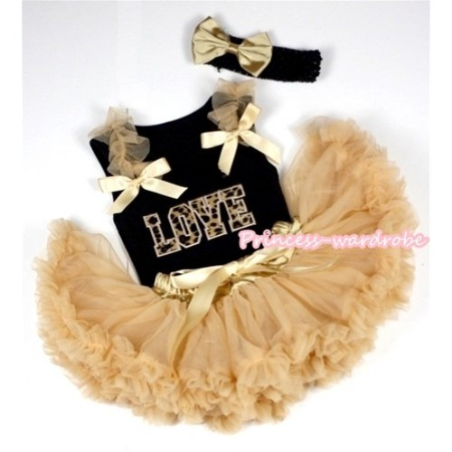 Black Baby Pettitop with Leopard Love Print with Goldenrod Ruffles& Goldenrod Bows & Goldenrod Newborn Pettiskirt With Black Headband Goldenrod Satin Bow NG426