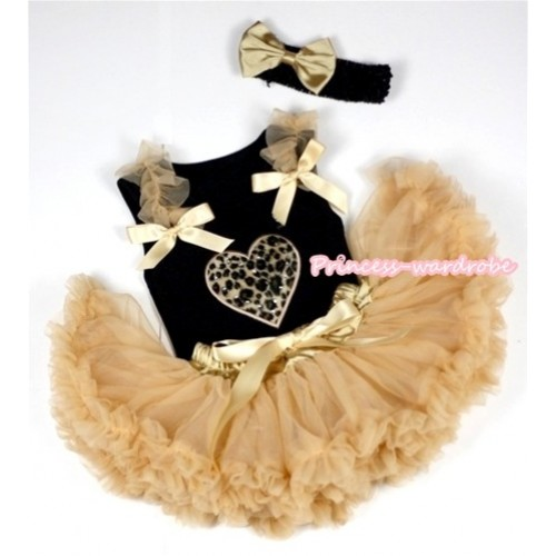 Black Baby Pettitop with Leopard Heart Print with Goldenrod Ruffles& Goldenrod Bows & Goldenrod Newborn Pettiskirt With Black Headband Goldenrod Satin Bow NG427