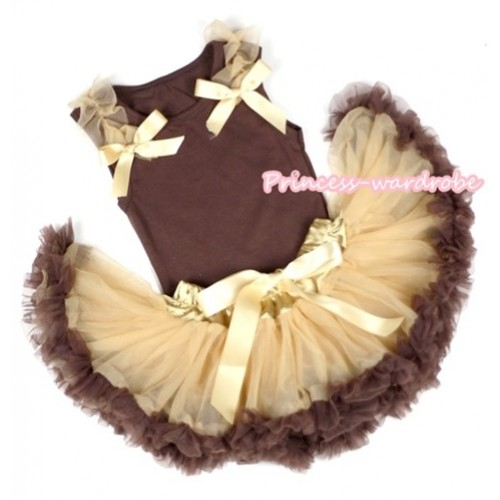 Brown Baby Pettitop & Goldenrod Ruffles & Goldenrod Bows with Light Dark Brown Baby Pettiskirt BG62
