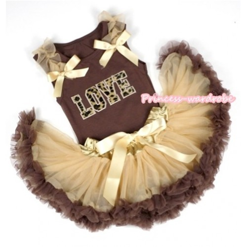 Brown Baby Pettitop with Leopard Love Print with Goldenrod Ruffles & Goldenrod Bows with Light Dark Brown Newborn Pettiskirt BG63