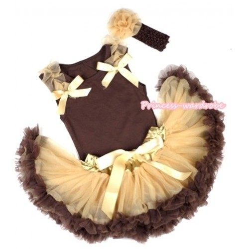 Brown Baby Pettitop & Goldenrod Ruffles & Goldenrod Bow with Light Dark Brown Newborn Pettiskirt With Brown Headband Goldenrod Rose BG67