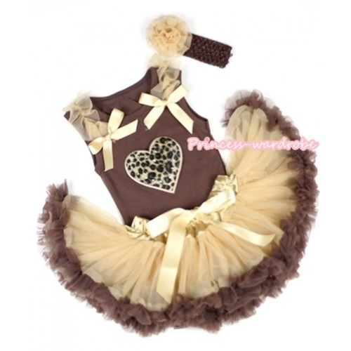 Brown Baby Pettitop with Leopard Heart Print with Goldenrod Ruffles& Goldenrod Bows & Light Dark Brown Newborn Pettiskirt With Brown Headband Goldenrod Rose BG69