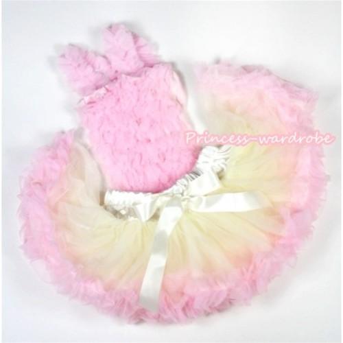 Light Pink Baby Ruffles Tank Top with Cream White Light Pink Baby Pettiskirt NR34