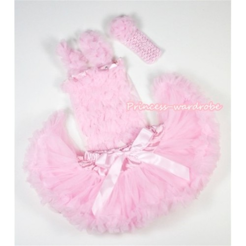 Light Pink Baby Ruffles Tank Top with Light Pink Baby Pettiskirt with Light Pink Headband Light Pink Rose NR37