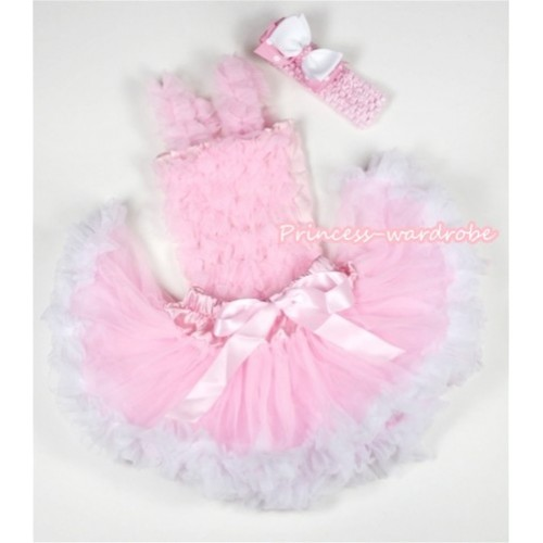Light Pink Baby Ruffles Tank Top with Light Pink White Baby Pettiskirt with Light Pink Headband White& Light Pink White Polka Dots Ribbon Bow NR38