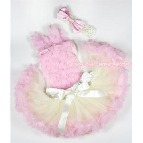 Light Pink Baby Ruffles Tank Top with Cream White Light Pink Baby Pettiskirt with Cream White Headband Light Pink Satin Bow NR40