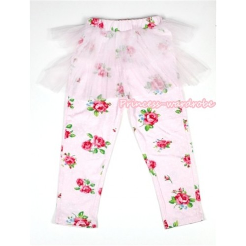 Light Pink Rosettes Fusion Pattern Skinny Leggings With Light Pink Tutu Dress LG146