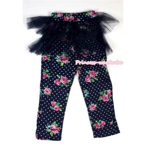 Royal Blue White Polka Dots Rosettes Fusion Pattern Skinny Leggings With Royal Blue Tutu Dress LG147