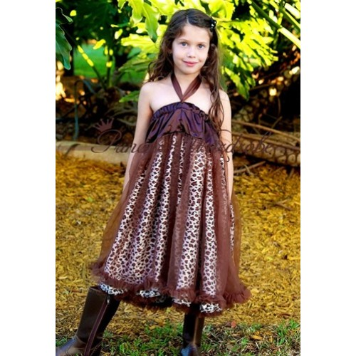 Leopard Print with Brown Chiffon Pettidress P81