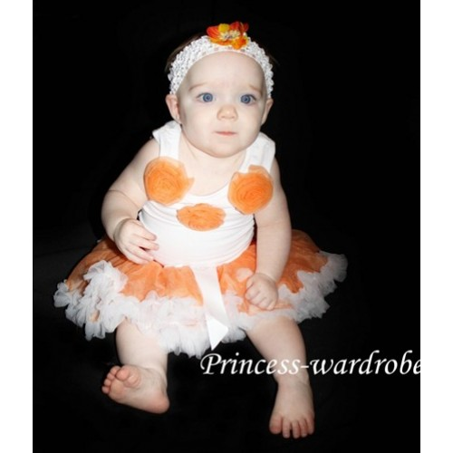 Orange and White New Born Pettiskirt N23