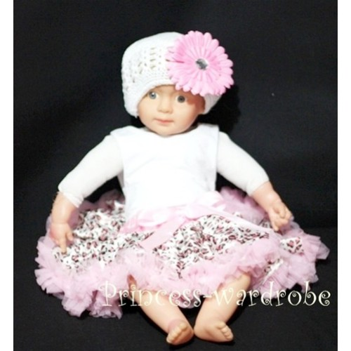 Light Pink Leopard PREMIUM New Born Pettiskirt D08