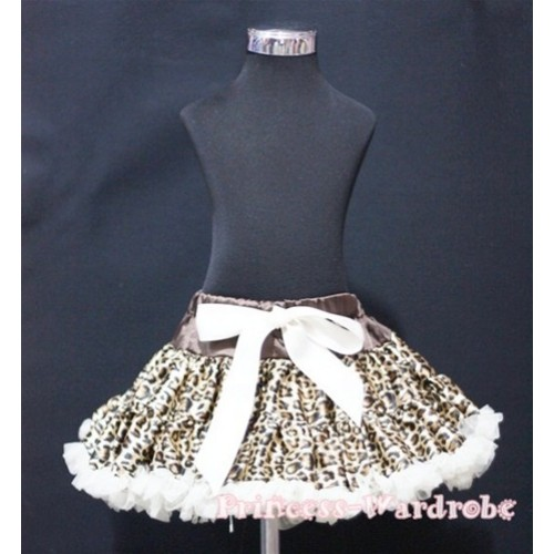 Cream White Leopard Print Teen Full Pettiskirt XXL AP12
