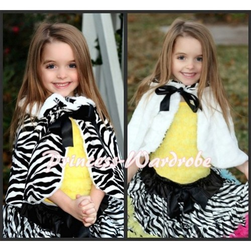 Black White Zebra Reversible Shawl Coat with Black Ribbon SH05