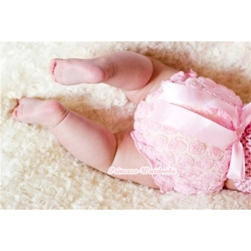 Light Pink Romantic Rose Panties Bloomers With Light Pink Bow BR27